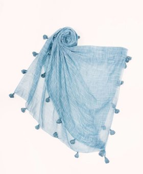 Look by M Pompom Scarf~ Blue - Look By M