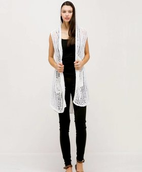 Look by M Hoodie Fishnet Vest~ White - Look By M