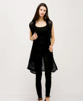 Look by M Fishnet Hoodie Vest~ Black - Look By M