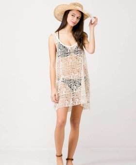 Look by M Fishnet Summer Cover Up~ Ivory- Look By M