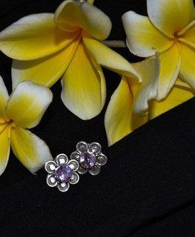 Saraswati Silver Dainty Flower with Purple Gem