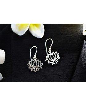 Saraswati Silver Lotus CutOut Earring