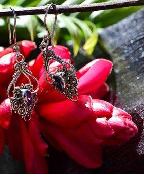Saraswati Silver Ornate Dangling Jewels Sky Blue