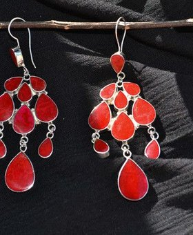 Saraswati Silver Red Bali Chandelier Earrings