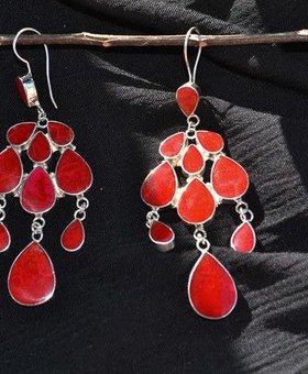 Saraswati Silver Red Bali Chandelier Earrings