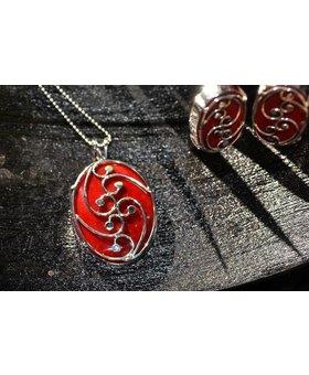 Saraswati Silver Red Coral Swirl Necklace