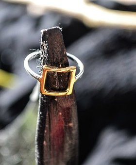 Saraswati Silver Refined Square Ring with Gold