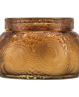 Voluspa Baltic Amber Embossed Glass Chawan Bowl Candle