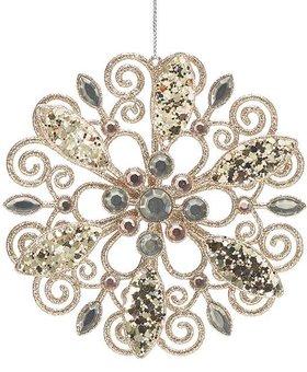 Champagne Filigree Glitter Jewel Snowflake~Christmas