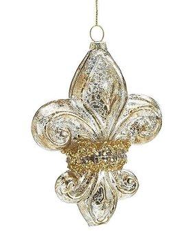 """Fleur de Lis  5"""" Glass Gold Mercury Sparkles"""