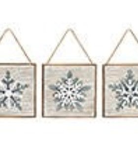 Wood Square with Metal Snowflake~Christmas