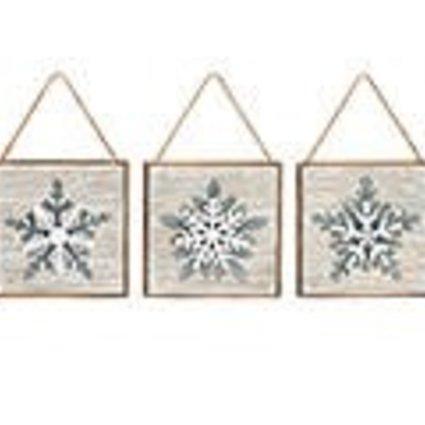 Wood Square with Metal Snowflake~Christmas