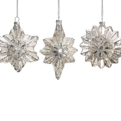 Mercury Glass Jeweled Snowflake~ Christmas