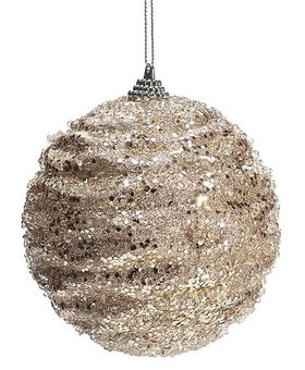 Champagne glittered beaded Ornament~Christmas