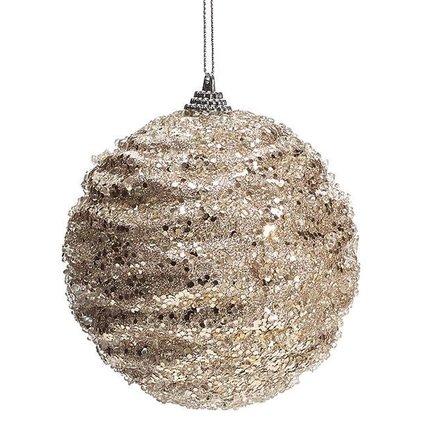 Champagne glittered beaded Ornament~Christmas
