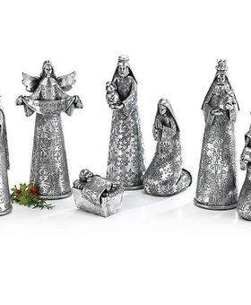 Silver Hammered Resin Nativity Set~