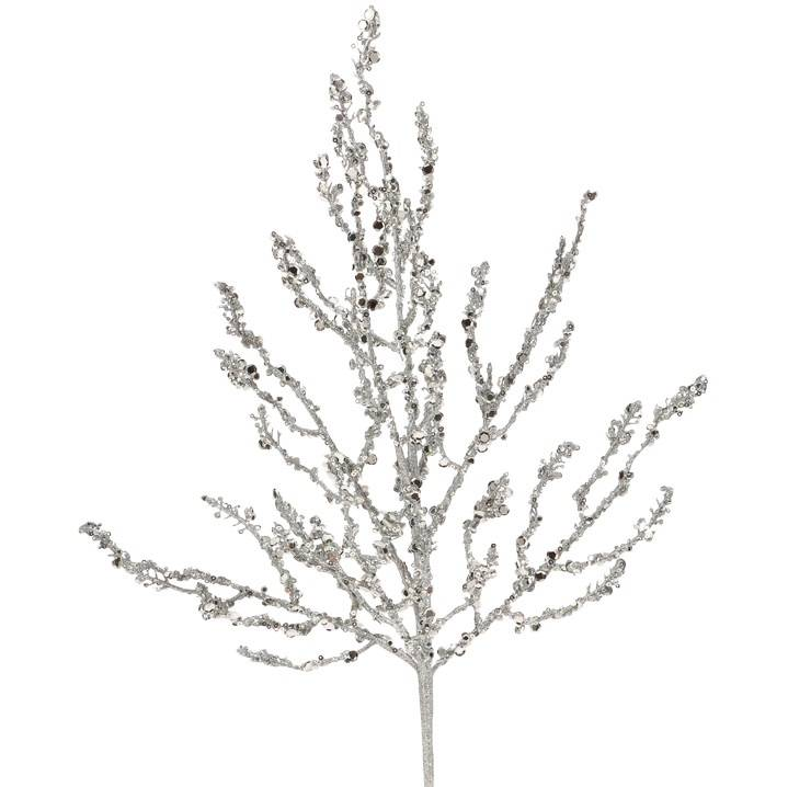 Raz Silver Sequined Branch 24""