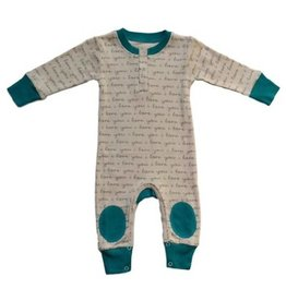 I Love You Teal Playsuit- Organic
