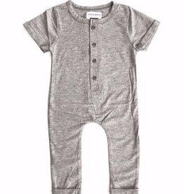 Little Bipsy Basic Button Romper- Grey