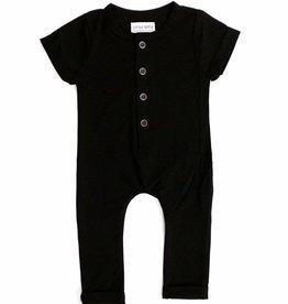 Little Bipsy Basic Button Romper- Black