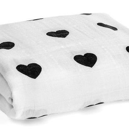 Modern Burlap Organic Cotton Muslin Swaddle Blanket- Hearts
