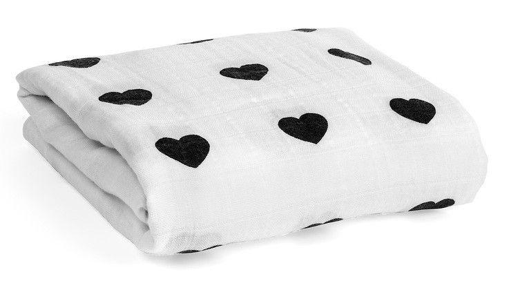 Modern Burlap Organic Cotton Muslin Swaddle Blanket- Hearts