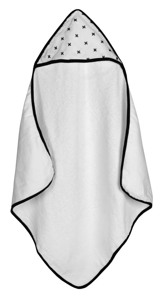 Modern Burlap Muslin + Terry Hooded Towel- Swiss Cross
