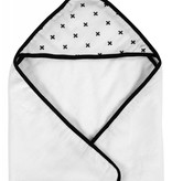 Modern Burlap Muslin + Terry Hooded Towel- Swiss Cross