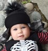 George Hats Solid Black Pom Hat