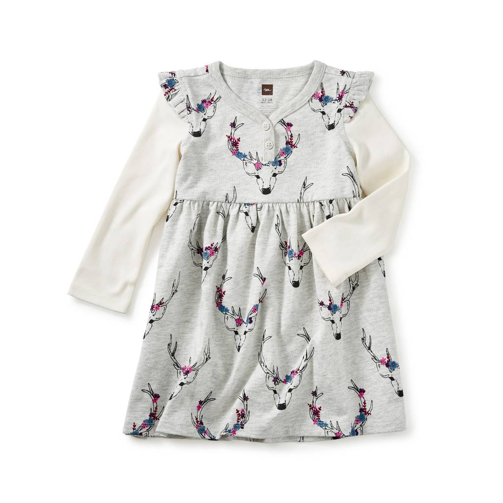 Tea Collection Oh Deer Baby Button Neck Dress