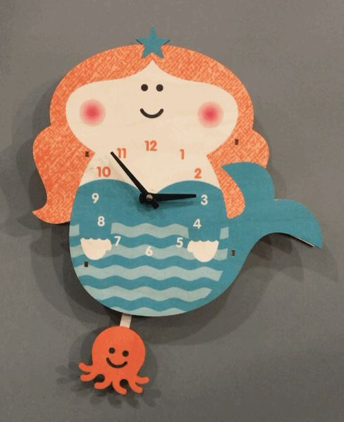 Modern Moose Mermaid Pendulum Clock