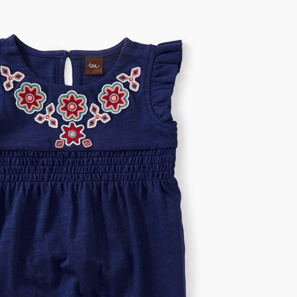 Tea Collection Berry Embroidered Romper