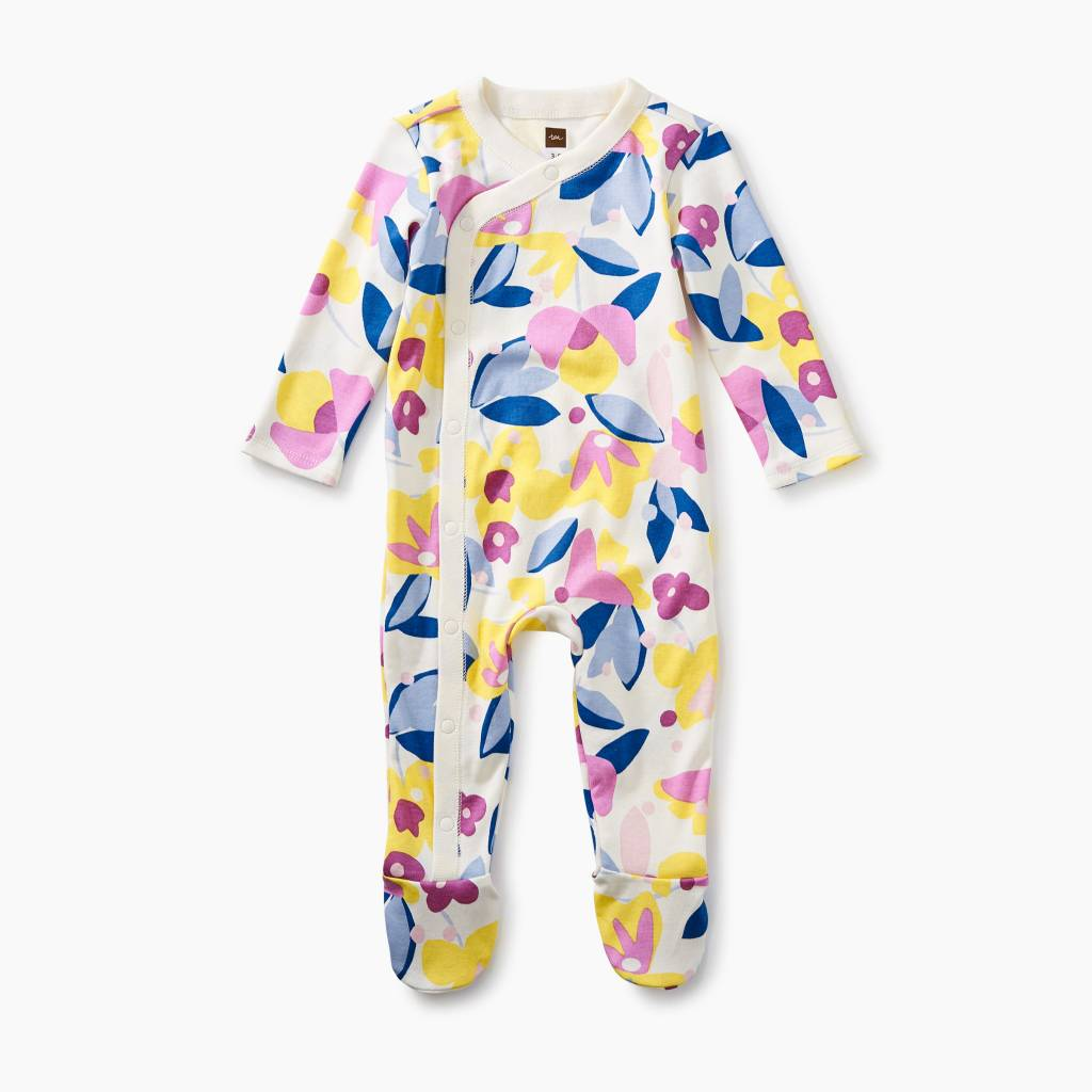 Tea Collection Footed Romper- Florals in Bloom