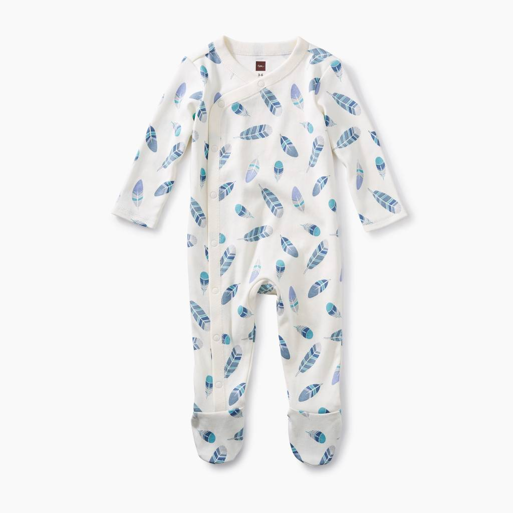 Tea Collection Footed Romper- Feathers