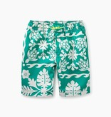 Tea Collection Print Swim Trunks- Green Pop Hawaiian