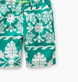Tea Collection Print Swim Trunks- Green Pop Hawaiian