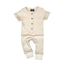 Little Bipsy LB Basic Button Romper- Tan