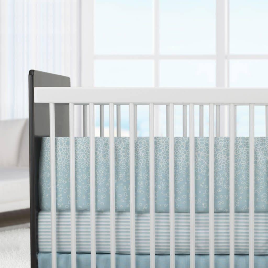 Oilo Aqua Stripe  Sateen Crib Sheet