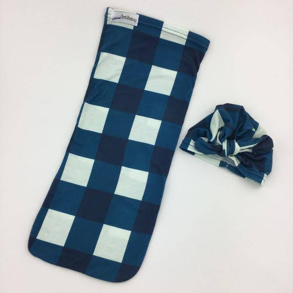 Little Buds Cocoon Swaddle with Matching Turban-Navy Plaid