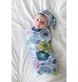 Little Buds Cocoon Swaddle with Matching Turban - Water Color