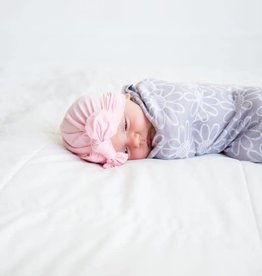 Little Buds Cocoon Swaddle with Matching Turban - Grey Flower/Pink