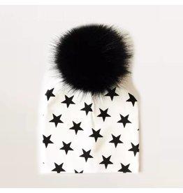 TIny Trendsetter B+W Stars Pom Pom Beanie Hat