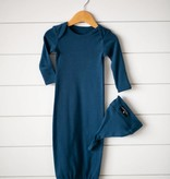 Modern Burlap Organic Knot Hat + Gown Set- Sailor Blue