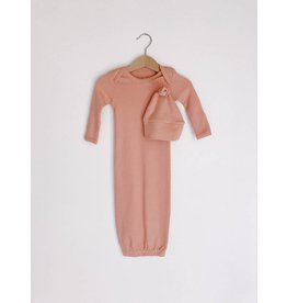 Modern Burlap Organic Knot Hat + Gown Set- Blooming Dahlia