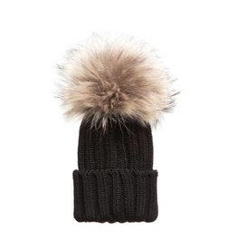 TIny Trendsetter Tiny Black Pom Knit Hat (baby-kids)
