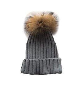 TIny Trendsetter Tiny Grey Pom Knit Hat (baby-kids)
