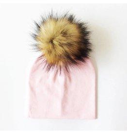 TIny Trendsetter Pastel Pink Pom Pom Beanie Hat