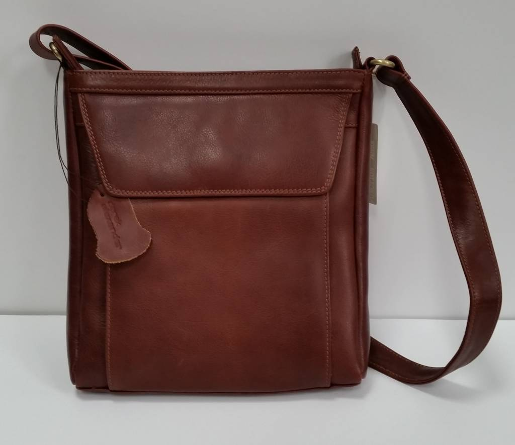Derek Alexander Med Uni Cross Body Tablet Friendly Leather Bag Whisky Br 8001