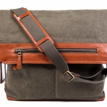 Bosca CONTINENTAL MESSENGER, FAB/LEATHER (6006-394) OLIVE