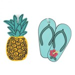 TRAVELON SET OF 2 NOVELTY LUGGAGE TAGS, PINEAPPLE/FLIP FLOP  (13243)